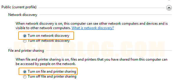 mengaktifkan Turn on network discovery dan Turn on file and printer sharing