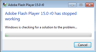Error Adobe Flash Player 15.0 r0 Has Stopped Working di Firefox