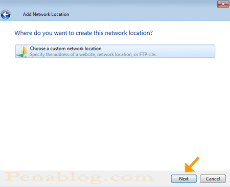 Add Network Location Wizard
