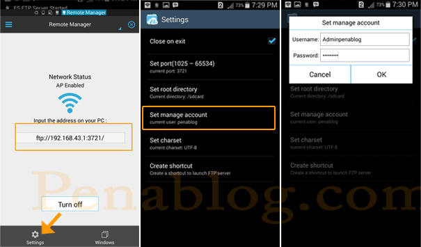 Cara Membuka/Browse File Android dari PC Dengan ES File Explorer Remote Manager FTP