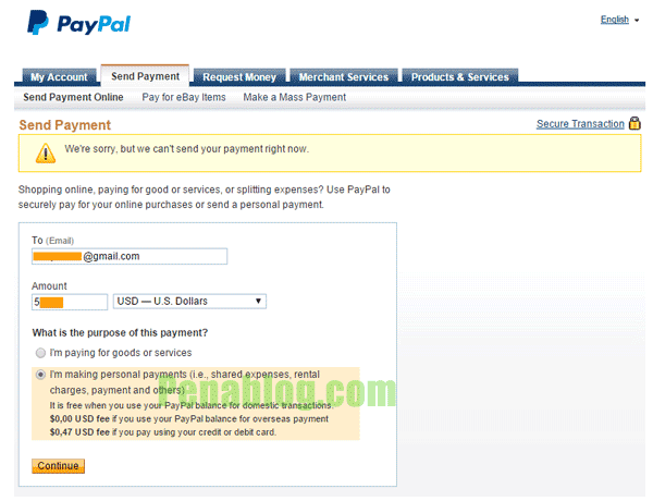 Trik Mengatasi Paypal We're Sorry We Can't Send Your Payment Right Now