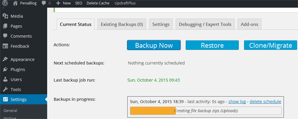 Cara Backup WordPress ke DropBox Dengan UpdraftPlus
