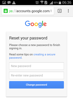Change password Gmail Android