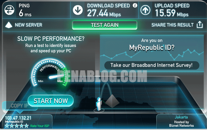 Mencoba Internet MyRepublic Paket Basic Speed Up to 30Mbps