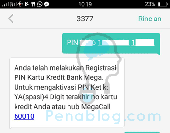 Buat PIN Kartu Kredit Bank Mega via SMS